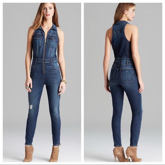 74c4b651b40c Guess Denim - Guess Cara jumpsuit blue distressed denim